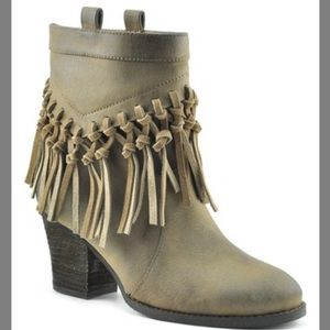 Sbicca taupe fringe suede boot